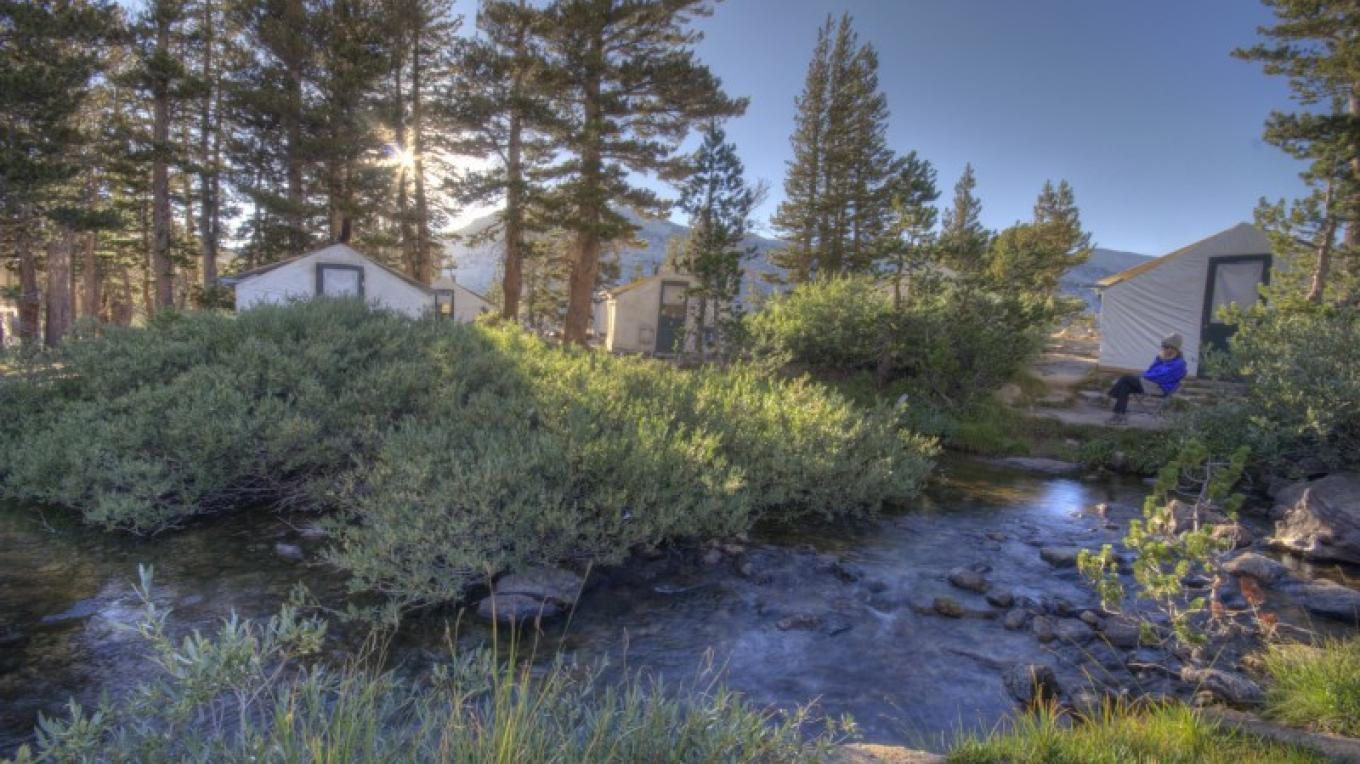 Vogelsang High Sierra Camp tent cabins alongside Fletcher Creek