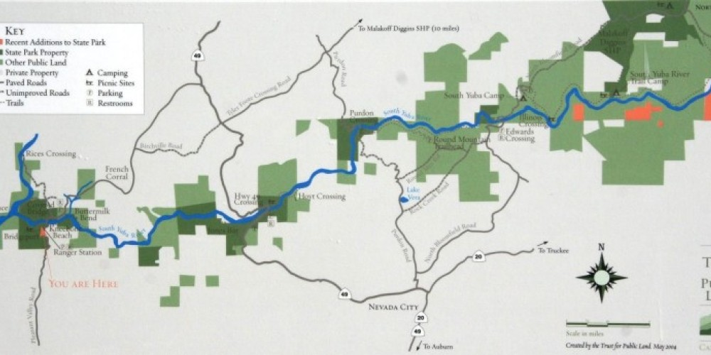 Map of almost all of the South Yuba State Park – Herb Lindberg