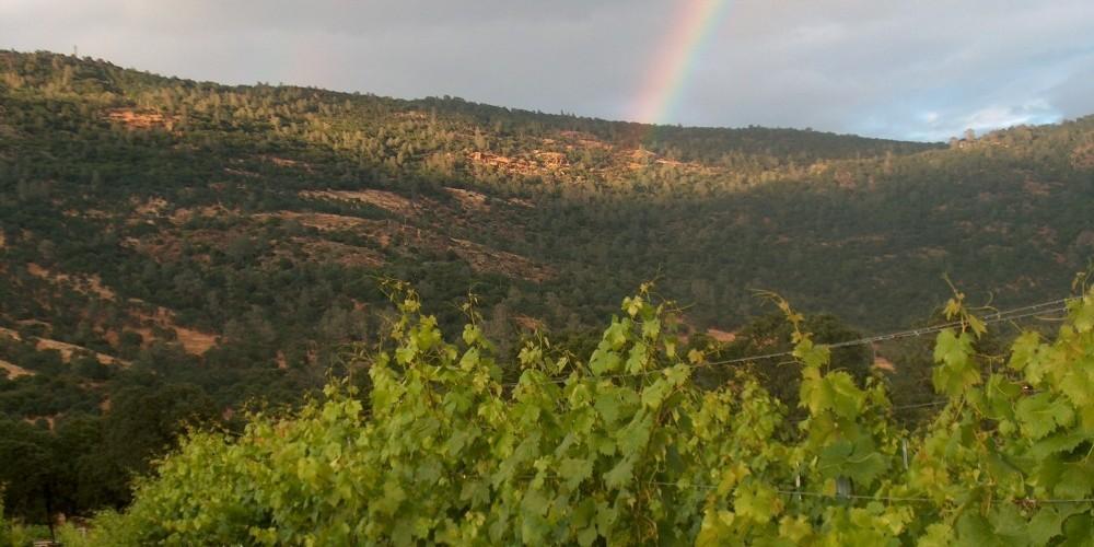 Rainbows over Mount Bullion add to the beautiful Sierra Foothill setting – Harold Casto
