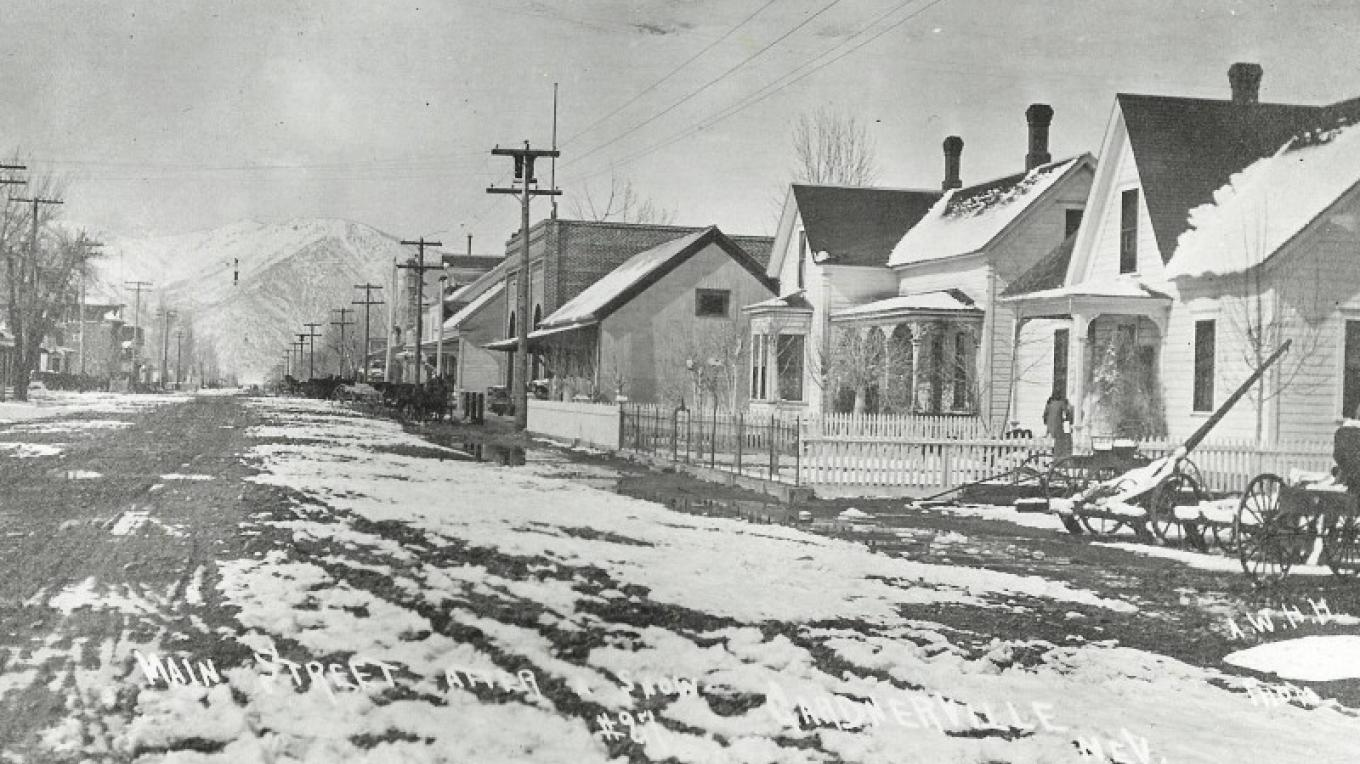 "Early Gardnerville - ""Main Street after a snow"", looking Northwest through Town – unknown"