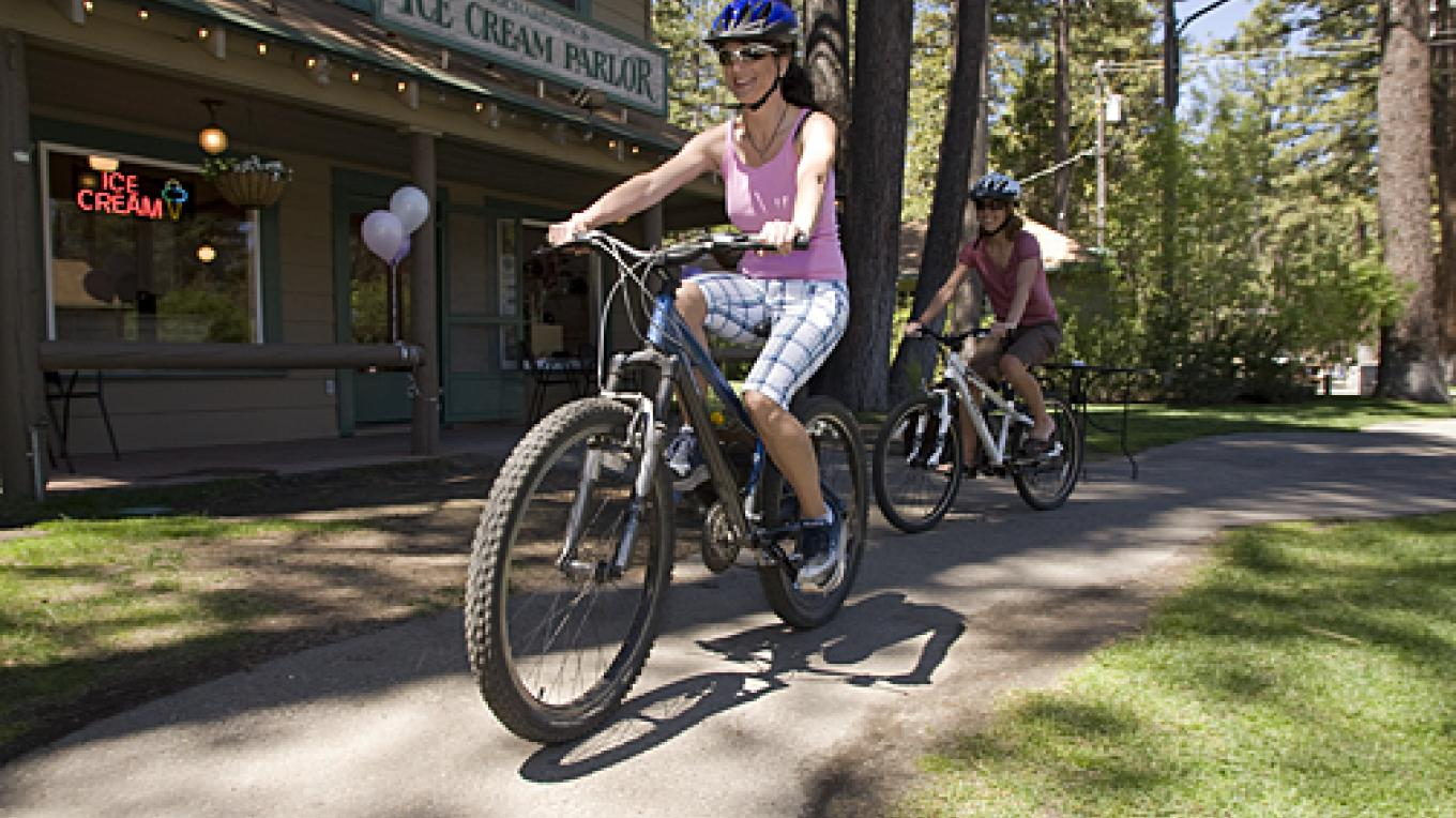 Bicycling past the Ice Cream Parlor – Camp Richardson Resort