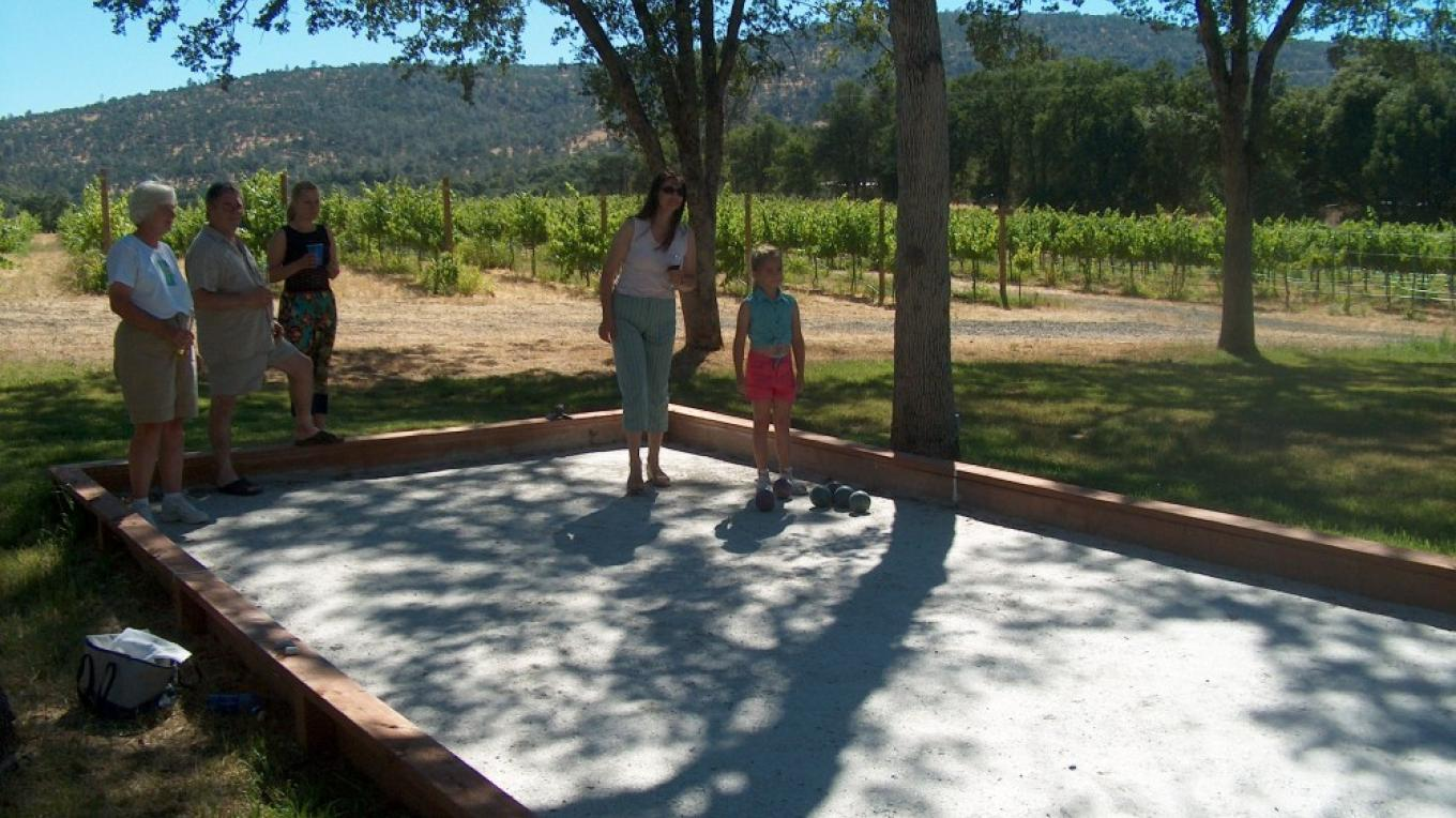 Enjoy your visit to our tasting room with a family friendly game of bocci ball. – Harold Casto