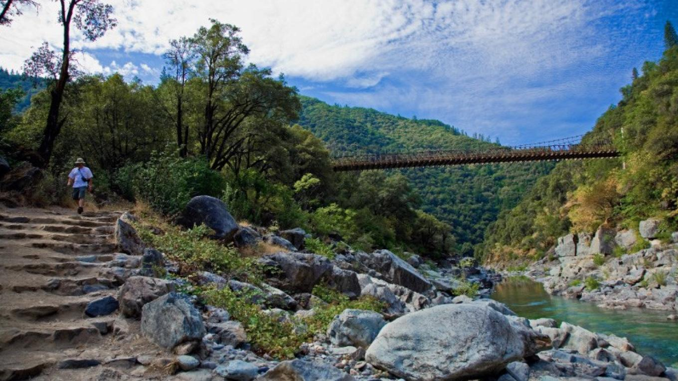 Outstanding hiking is available.  Here begins the Indian Creek Trail.  You can see the Historic Colfax-Foresthill Bridge in the background – ©Gary Hughes