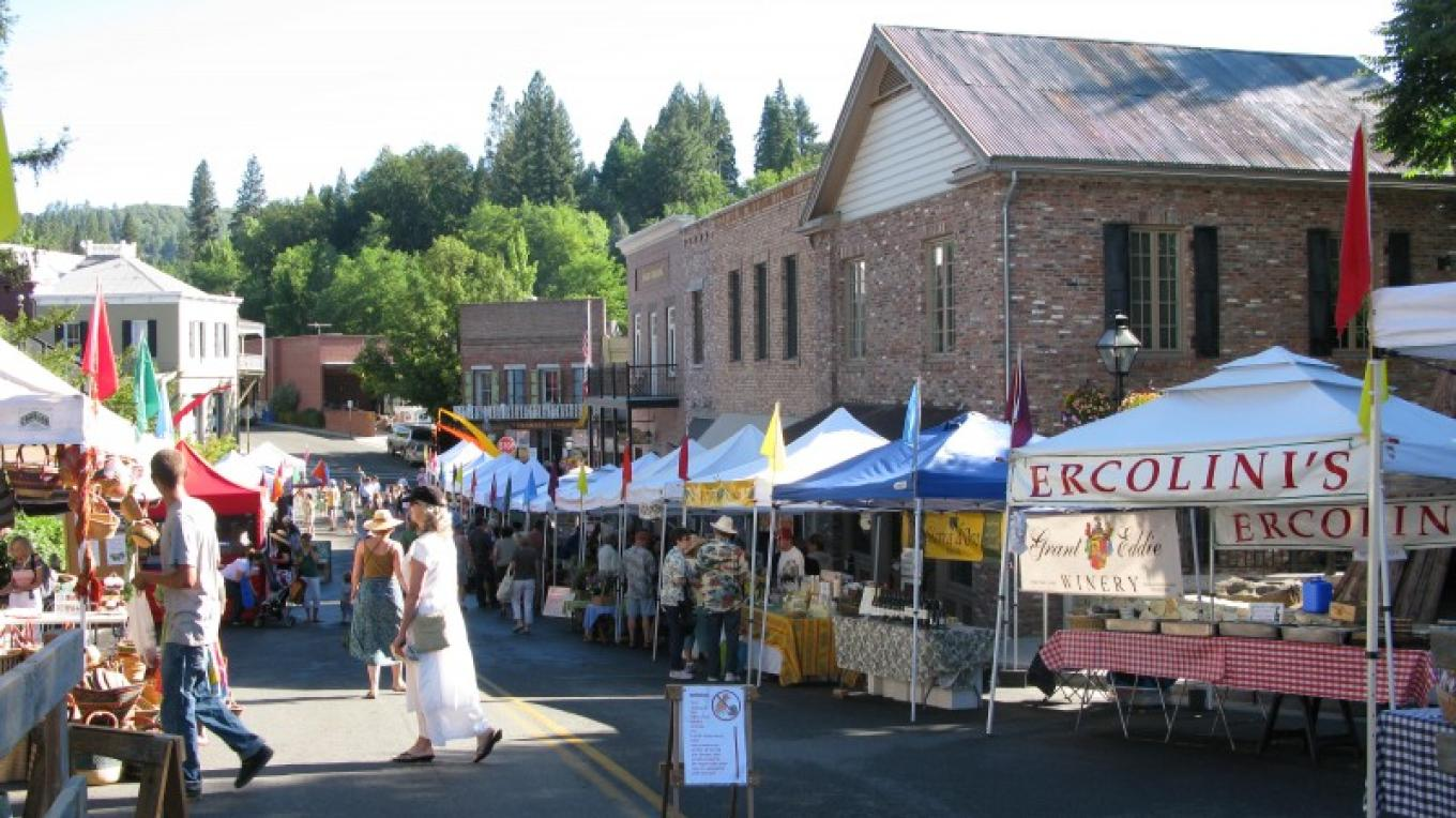 Nevada City Saturday Farmer's Market during summer – Linda Chaplin