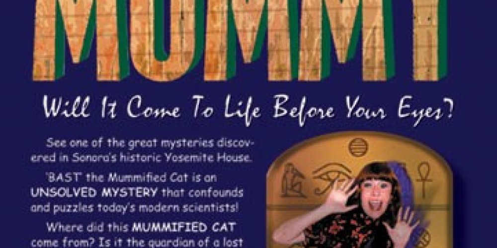 This is the ad for Bast - The Amazing Cat Mummy, a strange dehydrated cat that was found in the attic of my 1858 building during a remodel! – Christine Tuohy