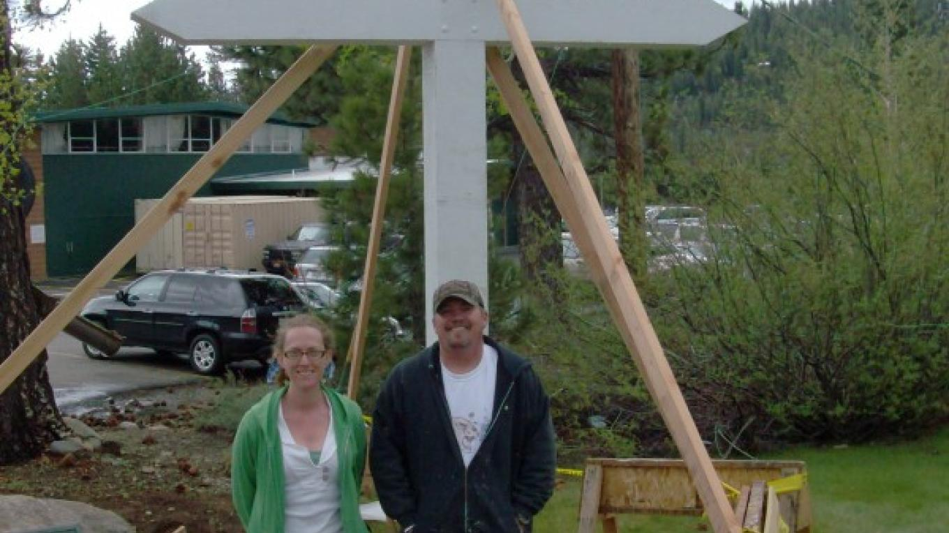 Giving a perspective to the size of the cross. – © 2010 Truckee Donner Historical Society All Rights Reserved