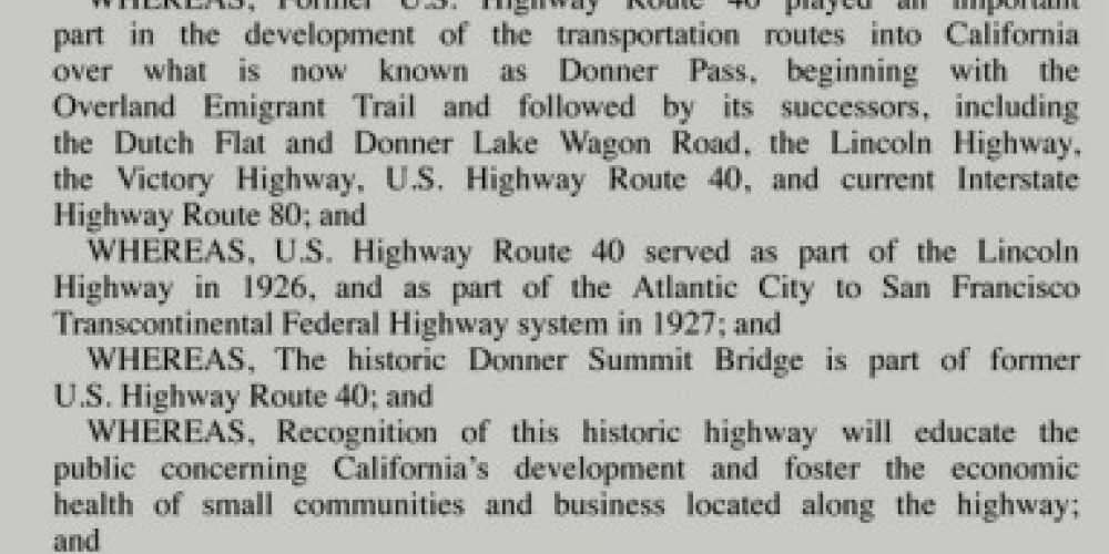State of California resolution recognizing California Route 40 as historic – Bill Oudegeest