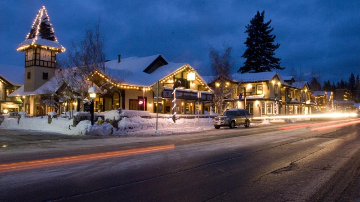 Cobblestone Center in Downtown Tahoe City - Midwinter night. – Niobe Burden
