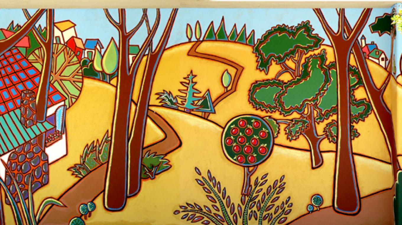 Our Town, mural at Three Rivers Union School Gym. Master artist Nadi Spencer. – Nadi Spencer