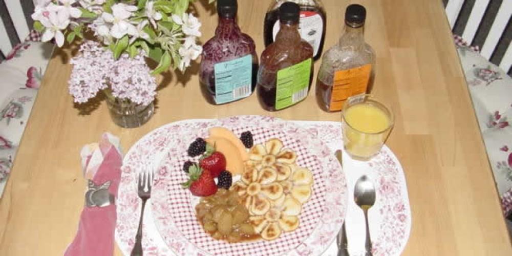 The Inn's signature breakfast, Apple Blossom Pancakes. – Candy