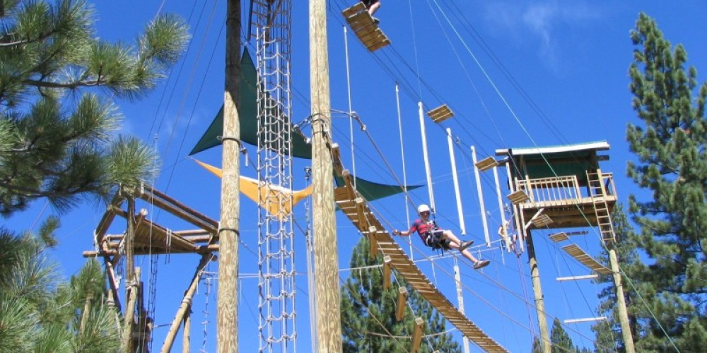 Squaw Valley Ropes Course in the tree tops
