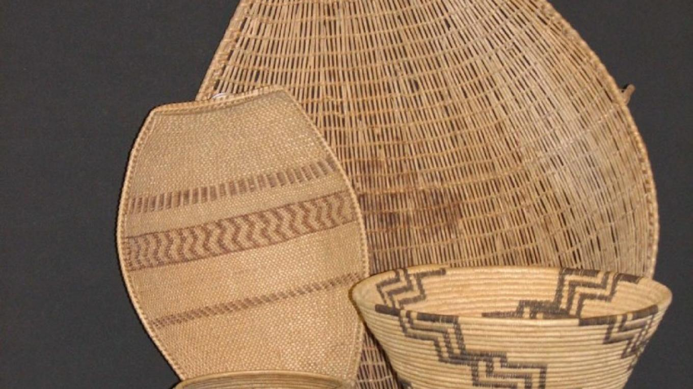A sampling of the roughly 400 Paiute-Shoshone baskets on display at the Eastern California Museum.