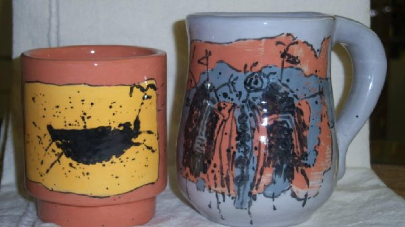 Mugs and cups painted by Big Pine Pauite Artist Richard Stewart are among the unique gifts in the ECM Bookstore.