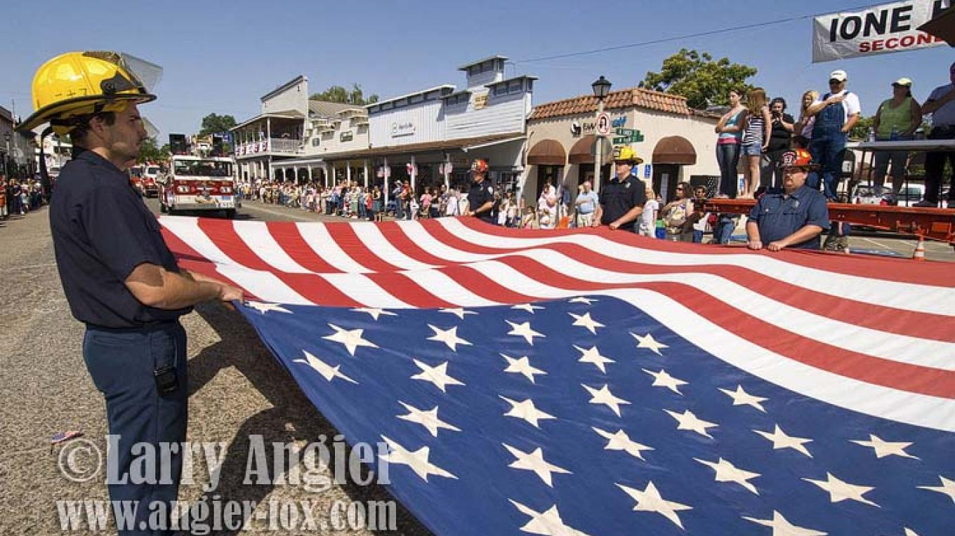 Ione Fire Department during the annual Ione Homecoming Parade in May, Amador County. – Larry Angier