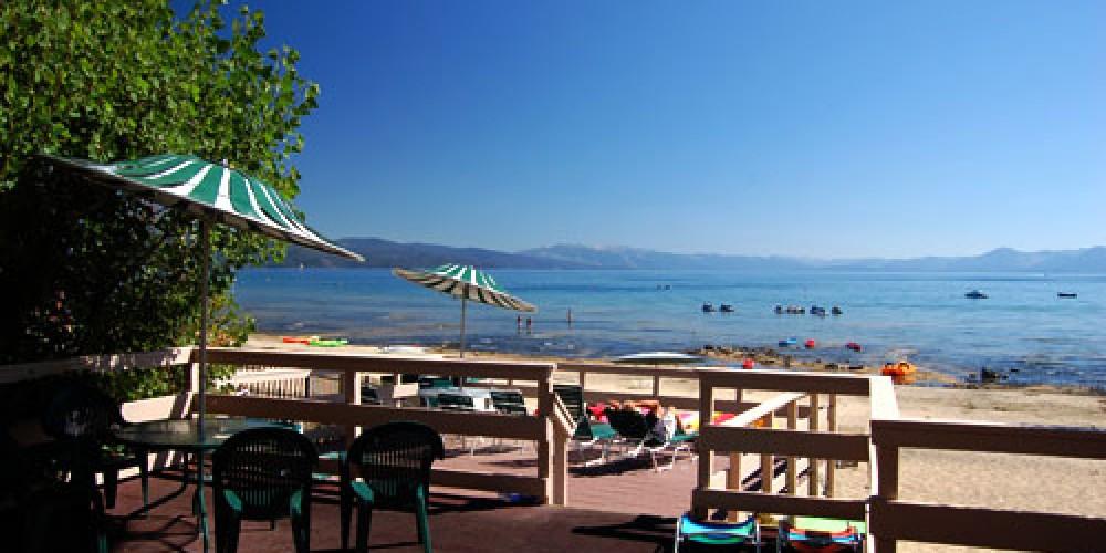 The deck, overlooking Lake Tahoe – Ferrari's Crown Resort