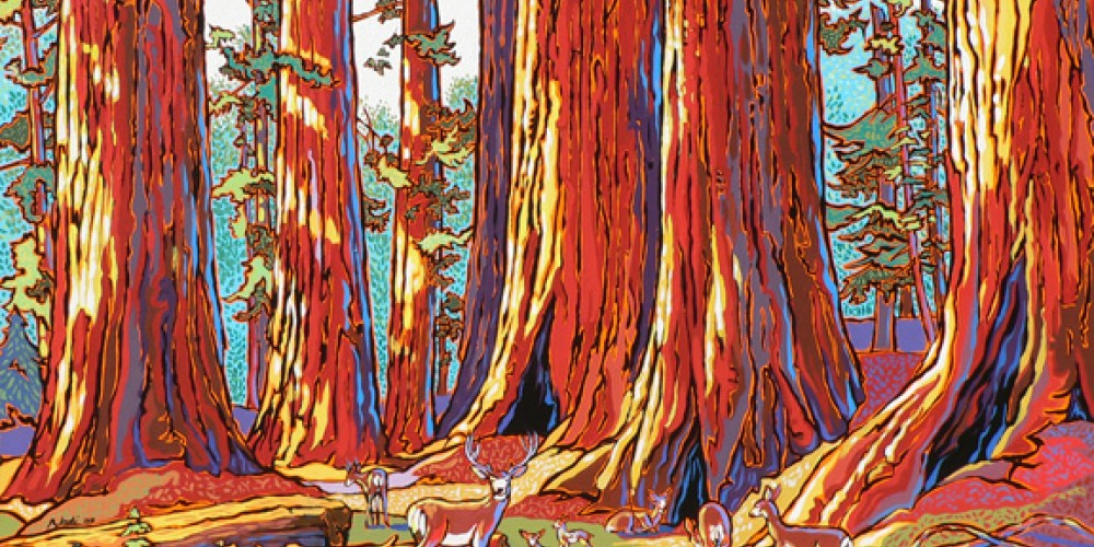 "Acrylic ""Sequoias and Deer"" – Nadi Spencer"