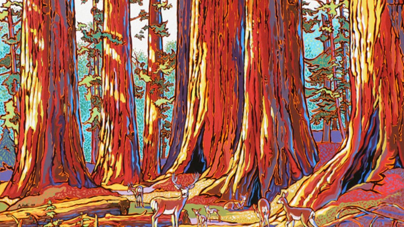 "Acrylic ""Sequoias and Deer"" – Nadi Spencer"