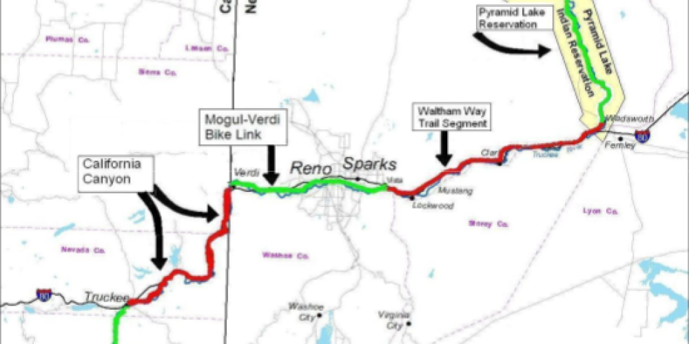 A map of the Trail, broken down by existing trail and proposed trail. See https://tahoepyramidtrail.org/ for a large version.