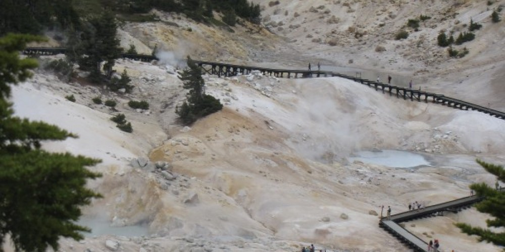 Boardwalks at Bumpass Hell give access to a very active volcanic area. – Ben Miles