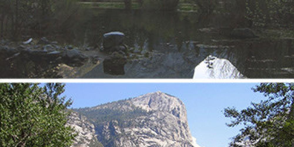 Above, Mirror Lake in spring. Below, Mirror Meadow in late summer. – nps.gov