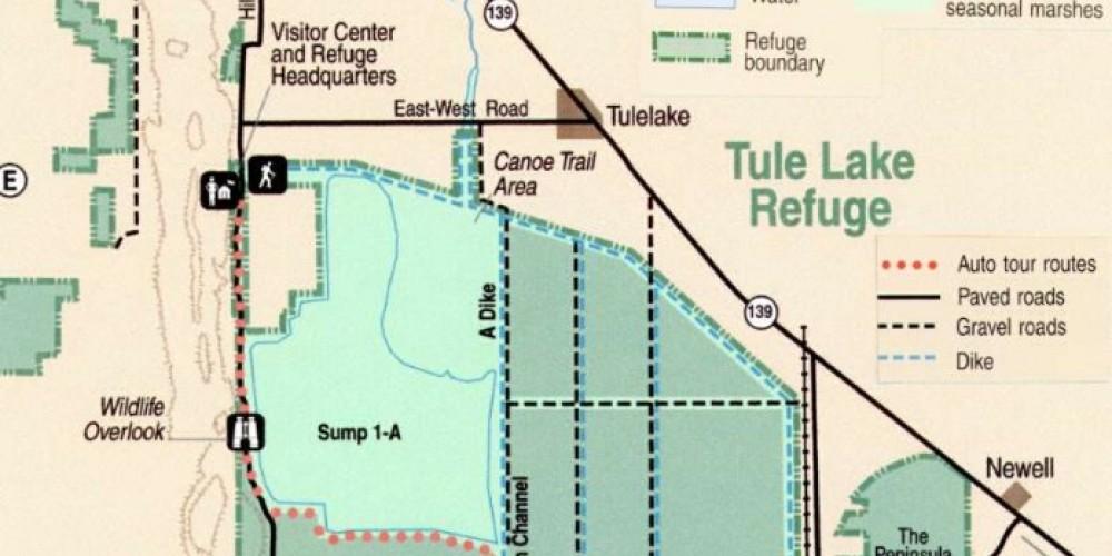 Map of the Tule Lake National Wildlife Refuge