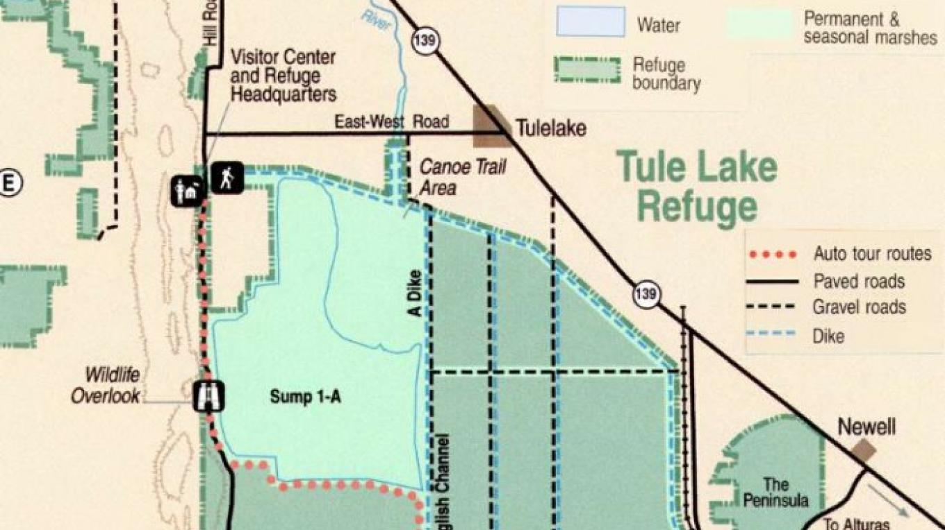 Map of the Tule Lake National Wildlife Refuge