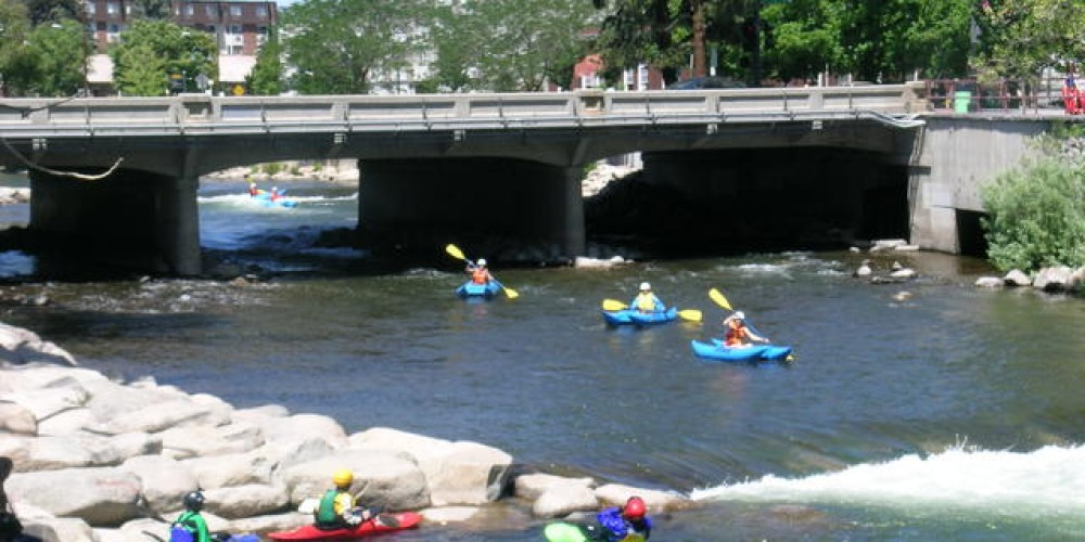 Kayaking is a year-round sport at the unique Truckee River Whitewater Park, in Reno's downtown hotel-casino district. – Nevada Commission on Tourism
