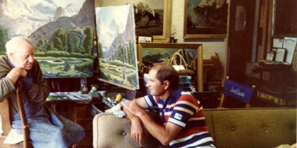 Robert Clunie and Richard Coons inside Clunie\'s studio, now Coons Gallery. (1977) – Coons Gallery