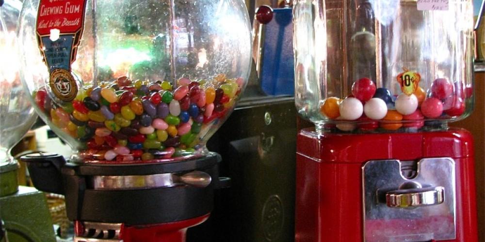 Beautifully restored gum ball machines delight everyone. – Karrie Lindsay