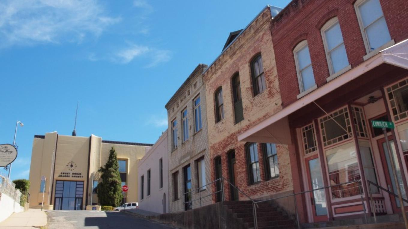 Old Amador County Courthouse on the left