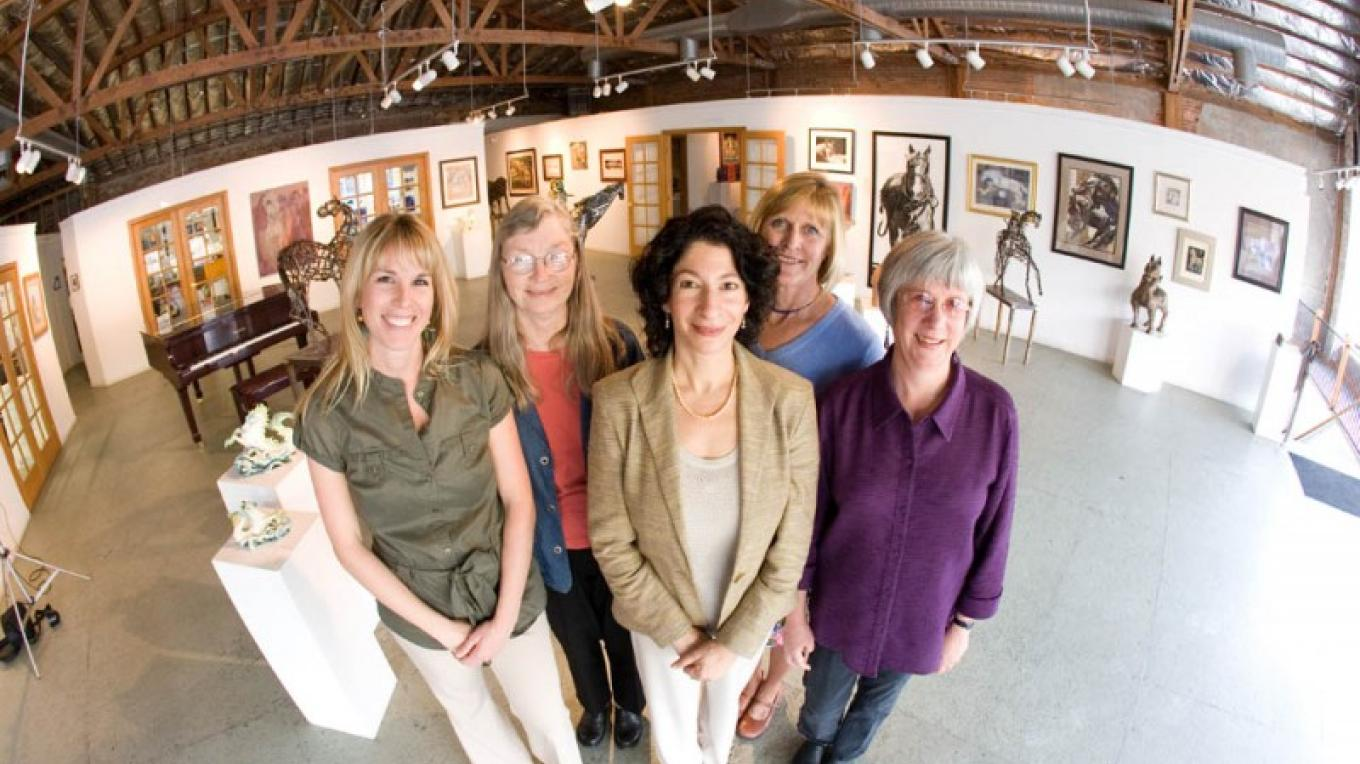 The PlacerArts team at The Arts Building from L-R Shawn Baldwin, Rosie Stilwell, Angela Tahti, Judi Nicholson, and Karen Killebrew. – Keith Sutter Photography