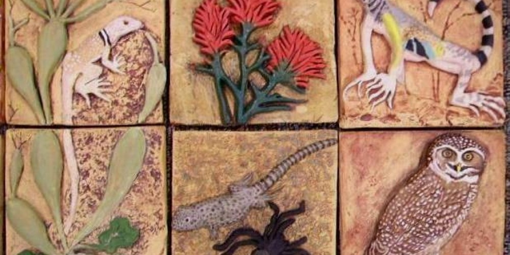 Desert Trumpet, Great Basin Whiptail, Zebra Tailed Lizard by Carolyn Lynch, Desert Paintbrush by Gerry Tanksley, Leopard Lizard & Tarantula by Suzan Schwartz, Burrowing Owl by Patty Holton – Patricia Holton