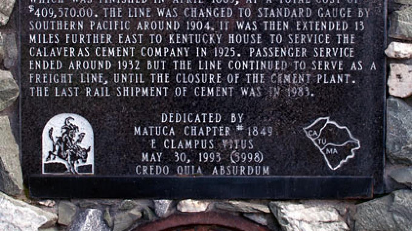 Valley Springs Historical Marker, dedicated on May 30, 1993 by E Clampus Vitus Matuca Chapter #1849