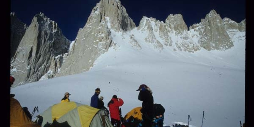 SMI climbers camped at 12,600\' at the base of the Mountaineers Route of Mt. Whitney first climbed by John Muir in 1873. – Kurt Wedberg