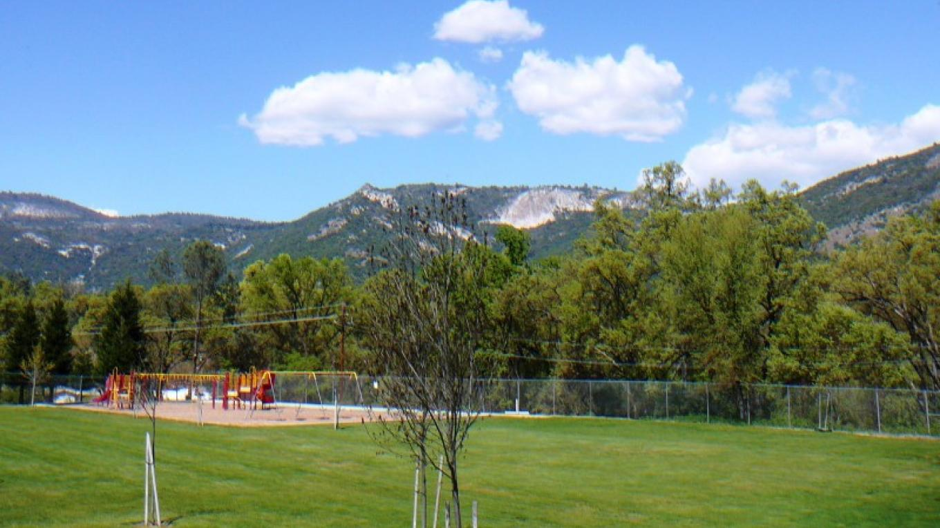view of Tollhouse Rock from Sierra Elementary – Susan Leeper