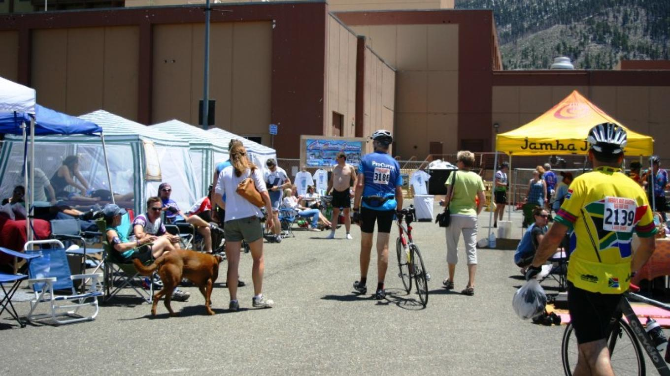 At the Finish Area; S.A.G., Massage Therapists, Photo Services, Search & Rescue, Juice Business, Adventure Business, Yoga, Bicycle Clubs and many more local businesses to support and assist the bicyclists. – Bonnie L. MacRae