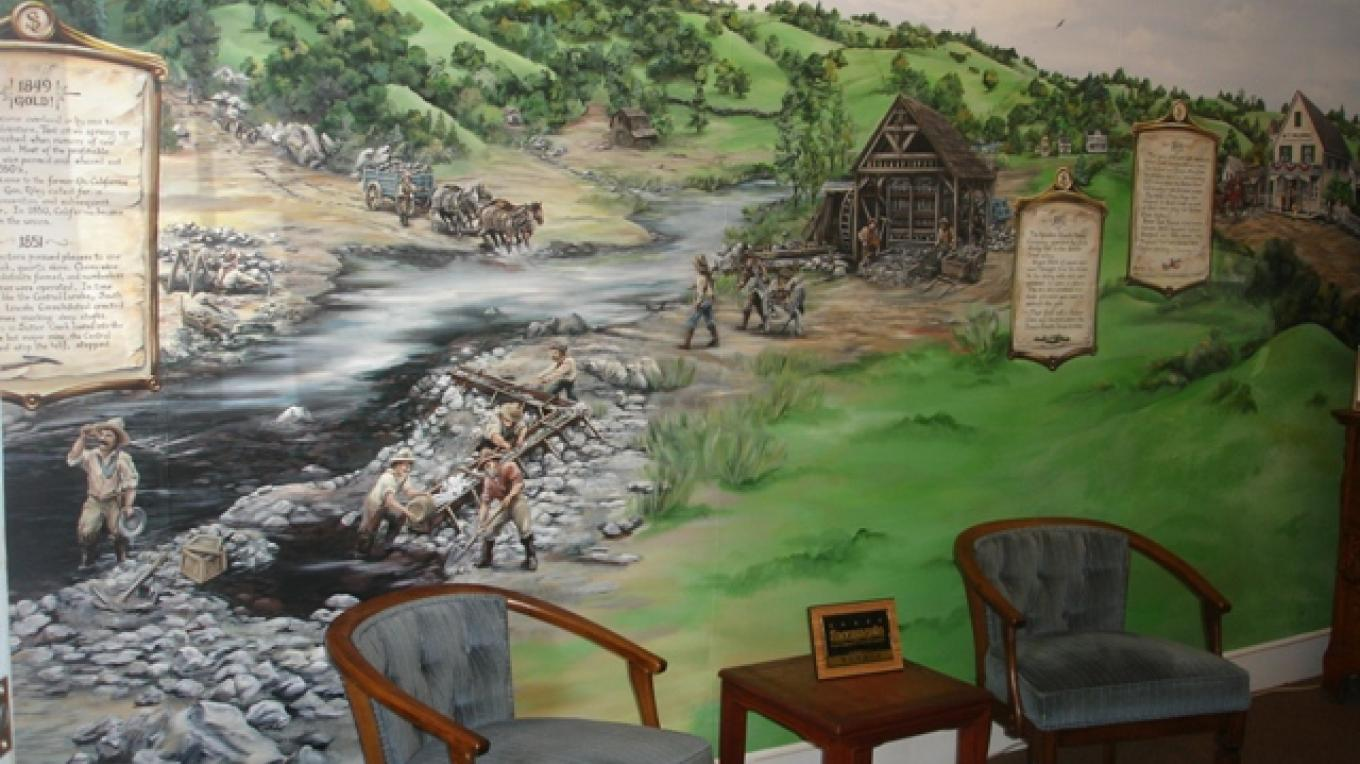 Amazing Hand painted mural, depicting the history of Sutter Creek – Klosowski