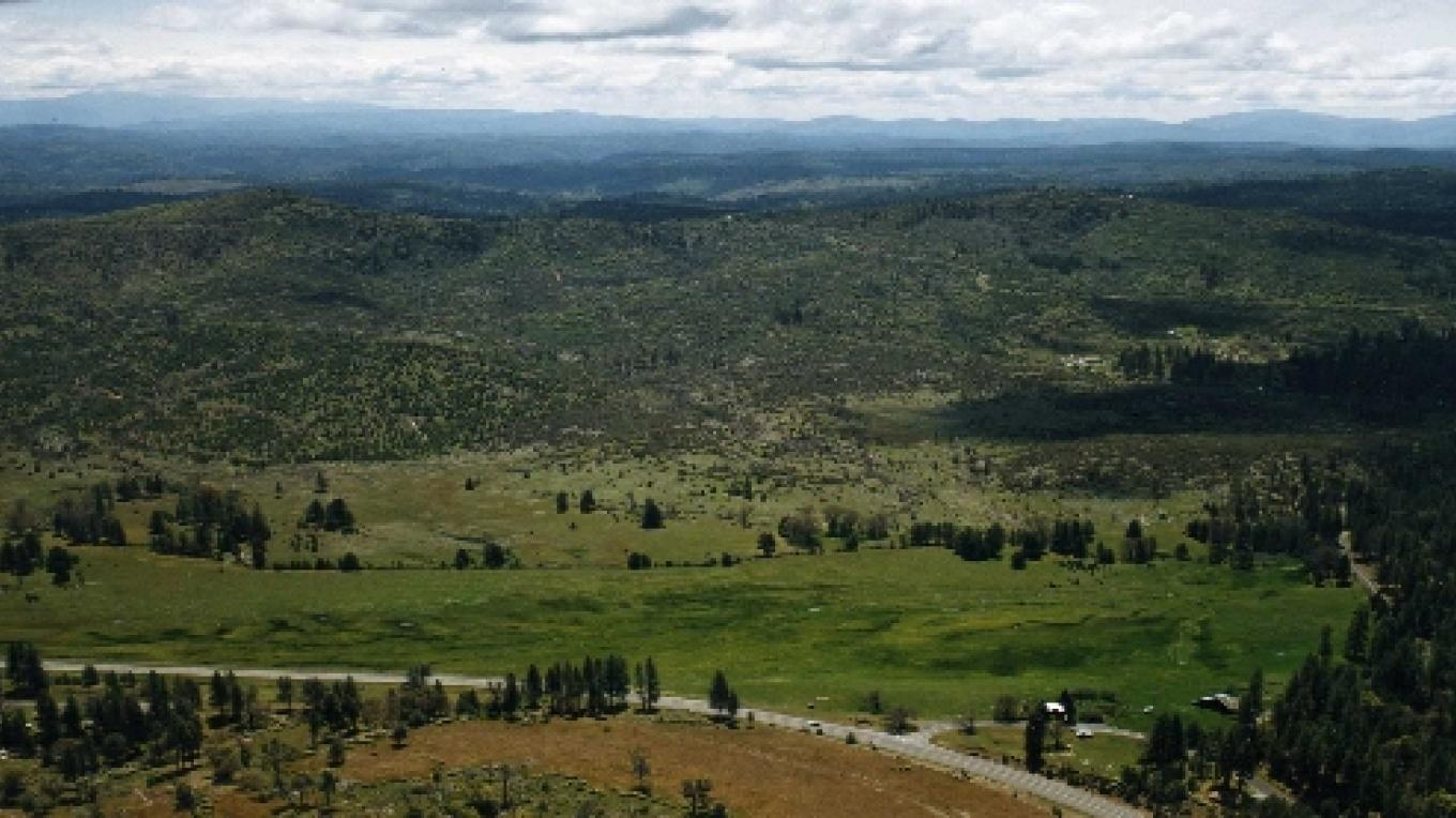 This is an aerial view of Big Creek Meadow Ranch, home to Historic Smith Station Stagecoach Stop #3, visited by President Roosevelt in the early 1900\'s.