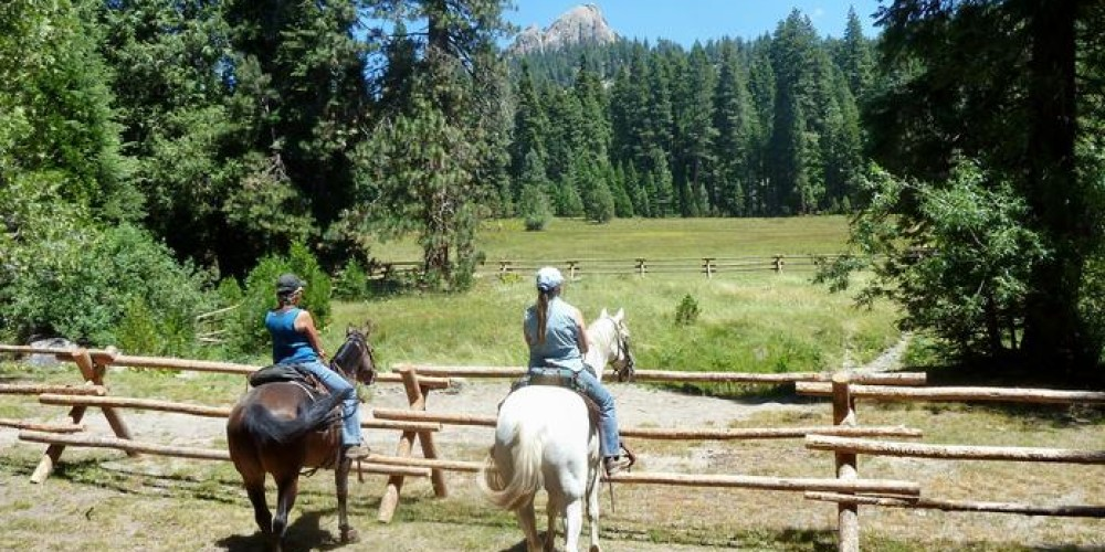 Karen & Sherry by the newly blocked off water access at Kelty Meadow. – Central Sierra Nevada Horse Trails