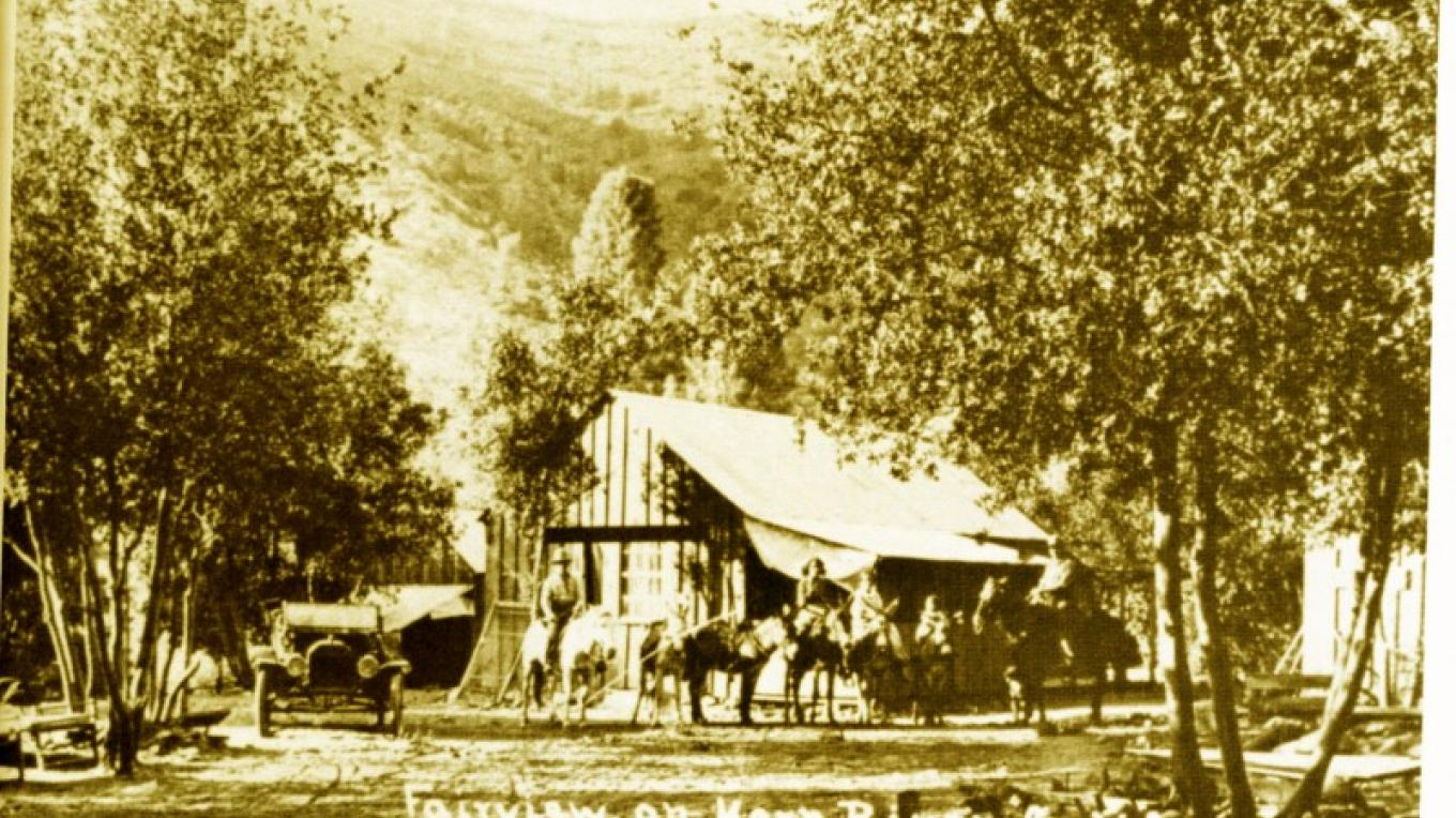 "Fairview on the Kern River taken in 1915. Small girl on the burro (2nd from right) is Isabell Blanche ""Betsy"" Burlando Esponda 1911-1989, granddaughter of Southern Sierra Historic figure Francisco Apalatea (1850 - 1928) – From Kern Valley Museum"