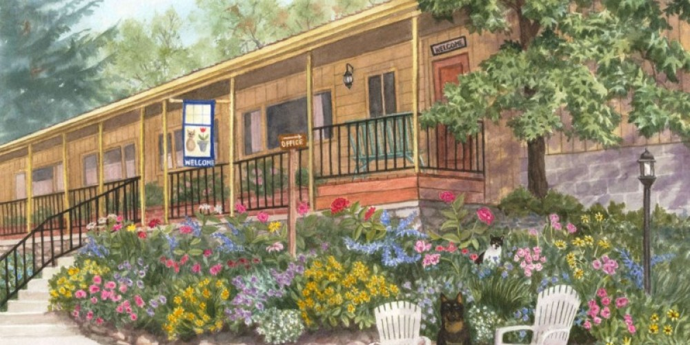 Sequoia Motel Watercolor by local artist Lorraine Young – Watercolor by Lorraine Young