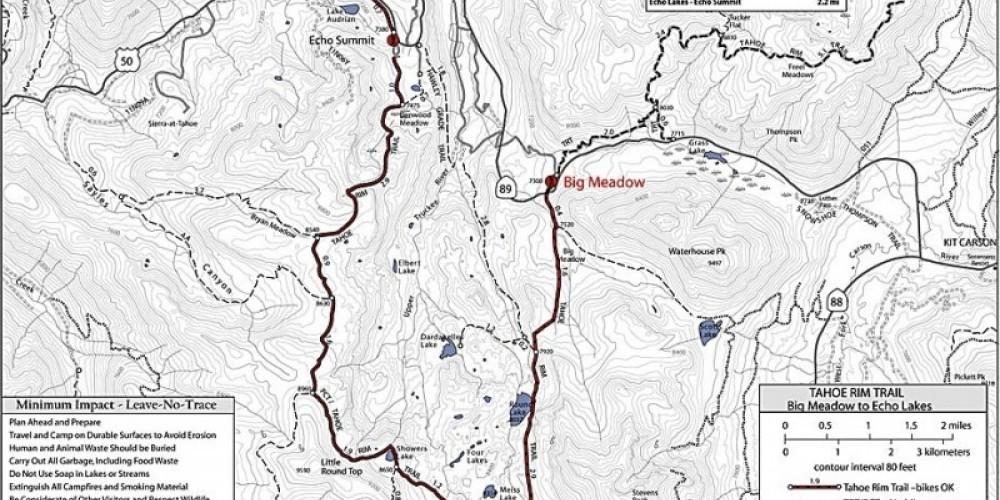 Map of the Round Lake/ Big Meadow region – Tahoe Rim Trail Association