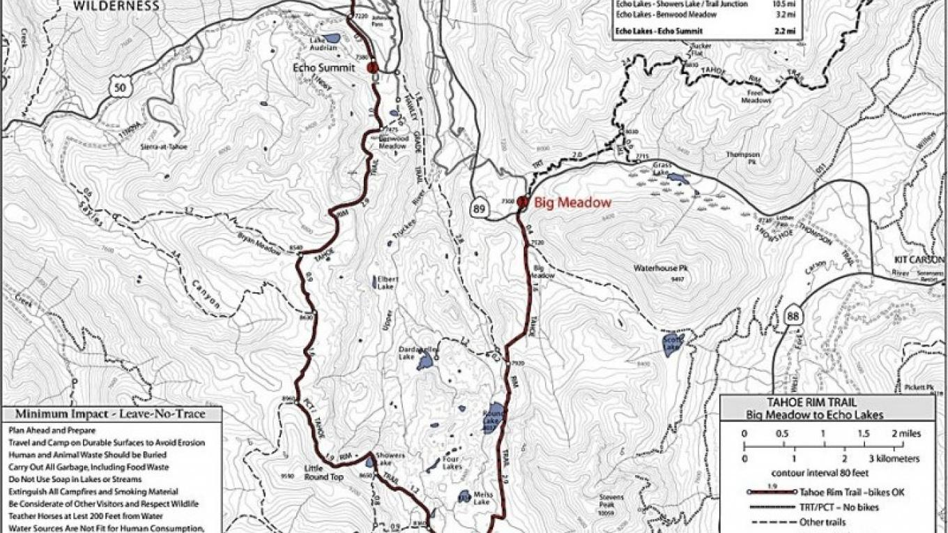 Map of the Round Lake/ Big Meadow region – Tahoe Rim Trail Association