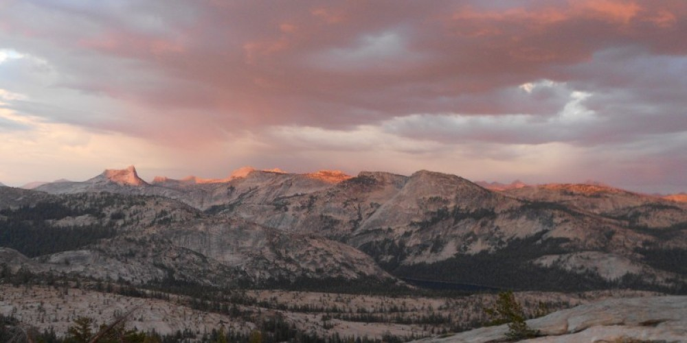 View towards Tenaya Lake and southern Yosemite from the popular sunset spot behind May Lake High Sierra Camp.