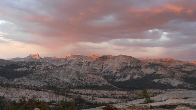 View towards Tenaya Lake and southern Yosemite from the popular sunset spot behind May Lake High Sierra Camp.