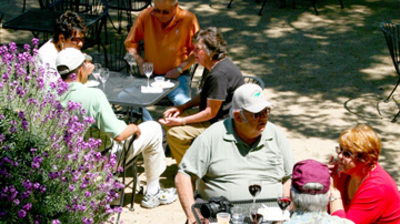Sitting in the sun during a springtime tasting – Lynn Wilson