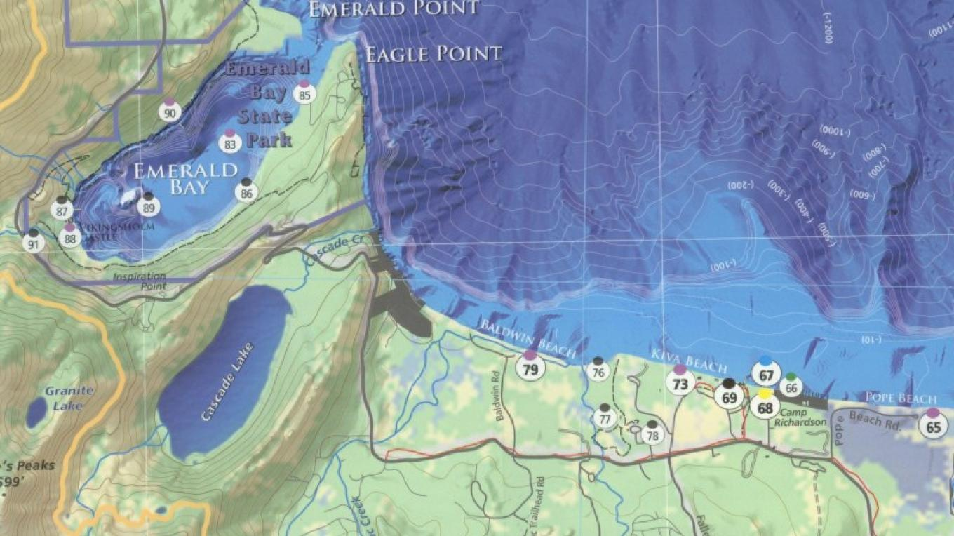 A sample section of the Lake Tahoe Water Trail Map and Guide showing Emerald Bay – B. Kingman