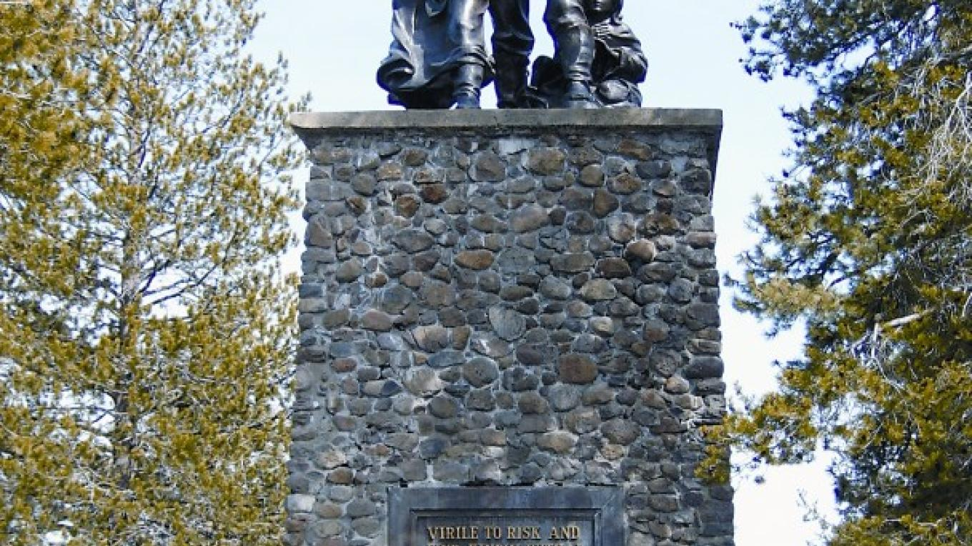 Pioneer Memorial in Donner State Park shows the Donner Party on top of a statue that represents how high the snow was that year – Courtesy of Truckee Chamber of Commerce