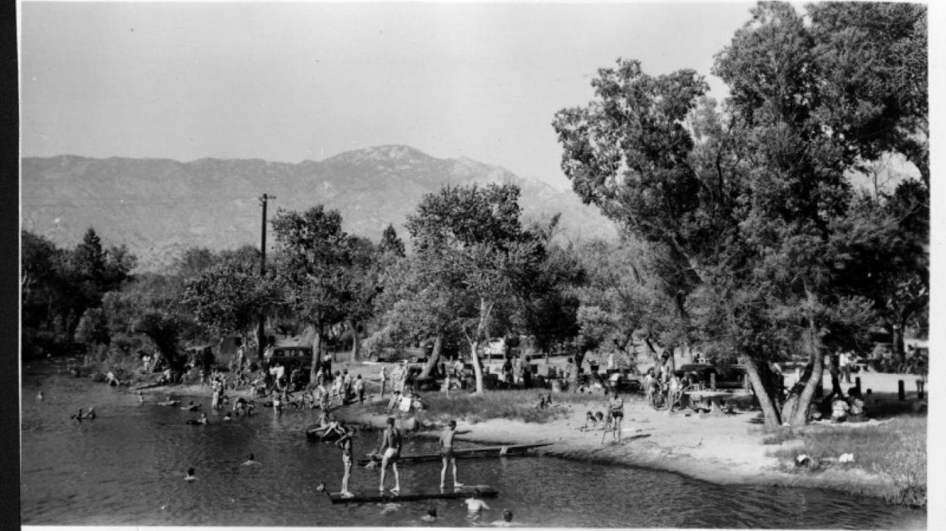 Riverside Beach, East of the Bridge. A place to gather by the Kern River in the heat of the summer. – unknown
