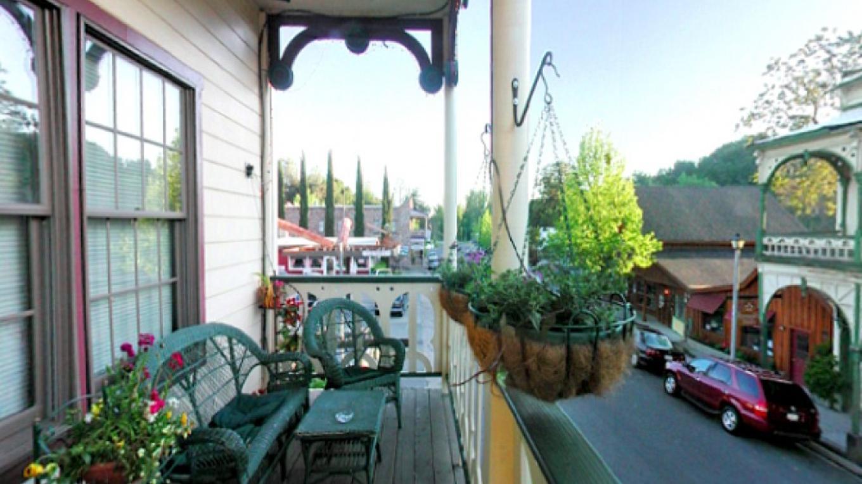 Balcony overlooking Main Street in Jamestown. – GG Gruel